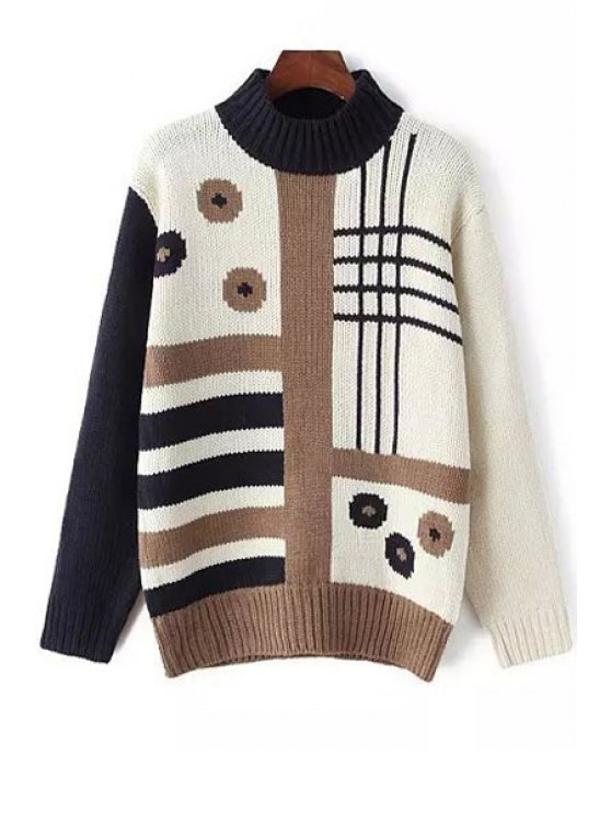 women's Half-Collar Long Sleeve Jacquard Jumper - WHITE ONE SIZE(FIT SIZE XS TO M)