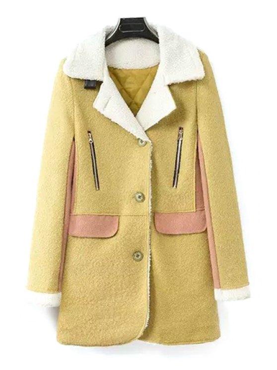 women Suede Spliced Turn-Down Collar Woolen Coat - YELLOW S