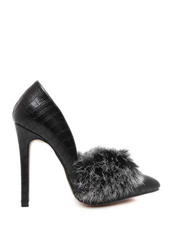 latest Faux Fur Stone Pattern Pointed Toe Pumps - BLACK 35