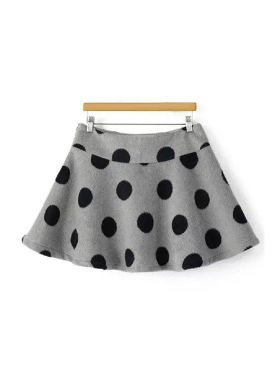 lady A-Line Polka Dot Winter Skirt - GRAY XS