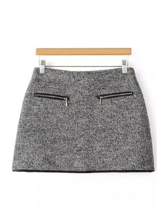 unique Packet Buttocks Gray Tweed Skirt - GRAY M