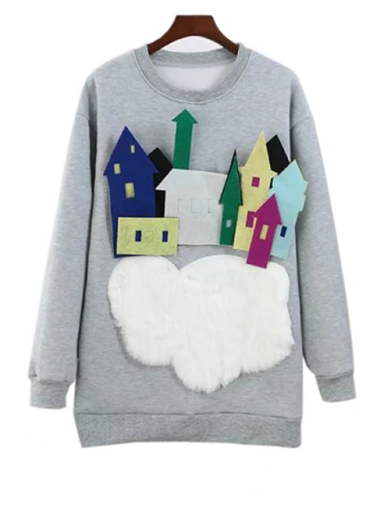women's Round Neck Long Sleeve Flocking Sweatshirt - GRAY M