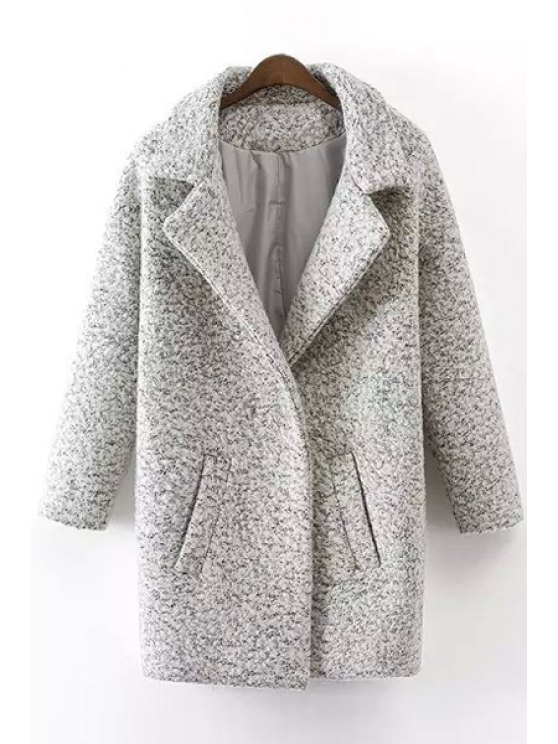 affordable Loose Fitting Turn-Down Collar Long Sleeves Woolen Coat - GRAY S