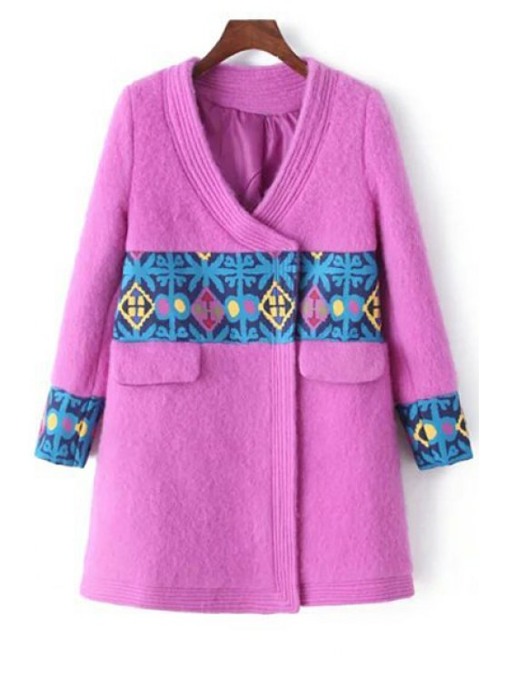 chic V-Neck Long Sleeve Spliced Pink Coat - PINK S