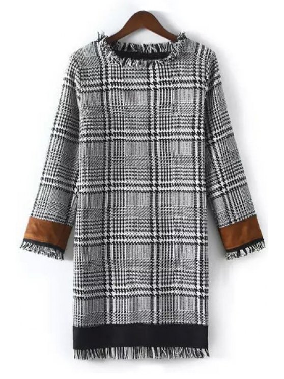 fashion Houndstooth Color Block Round Collar Long Sleeves Dress - COLORMIX M