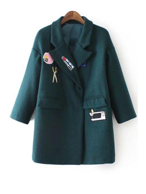 online Cartoon Embroidery Print Turn-Down Collar Coat - GREEN S