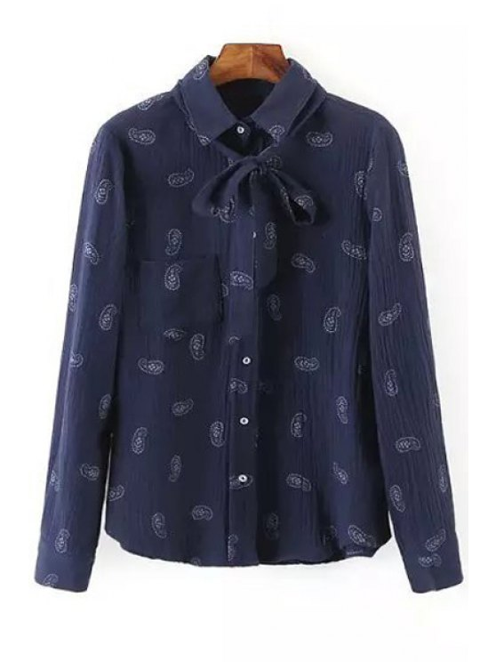 outfits Cashew Nuts Print Flat Collar Long Sleeves Shirt - BLUE S