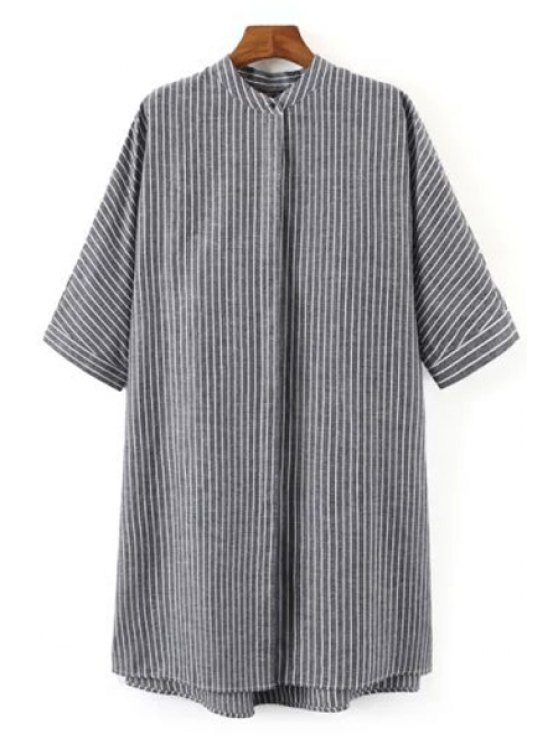 latest Striped Print Stand Collar Half Sleeves Shirt - GRAY S
