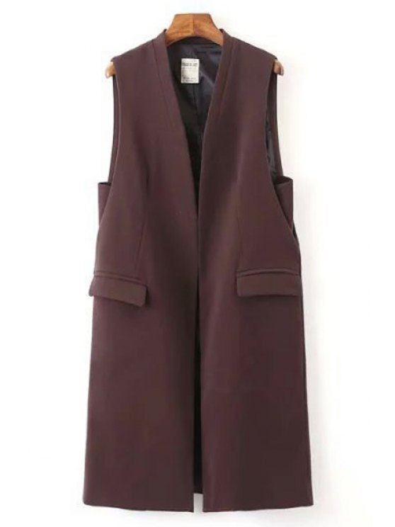 new Solid Color Pockets Long Waistcoat - WINE RED S