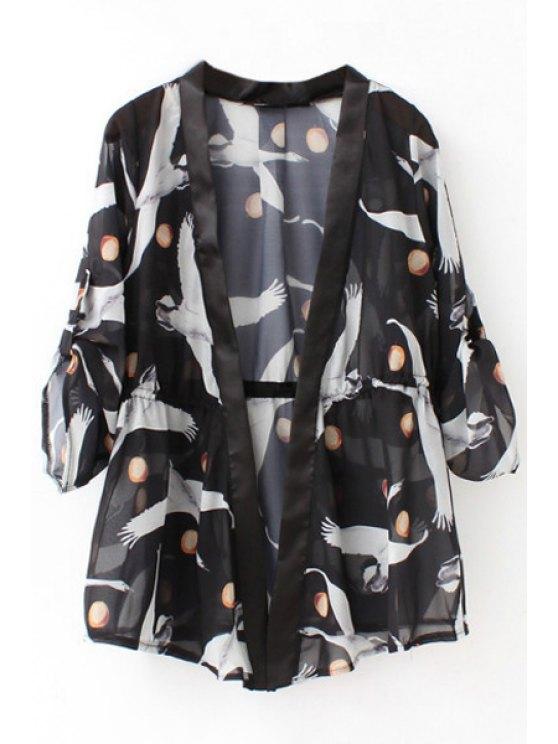 fancy Printed Drawstring 3/4 Sleeves Kimono Cover Up - BLACK S