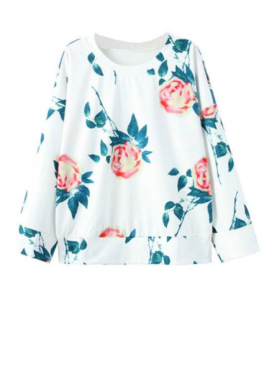 shop Flower Print Round Collar Long Sleeves Sweatshirt - WHITE S