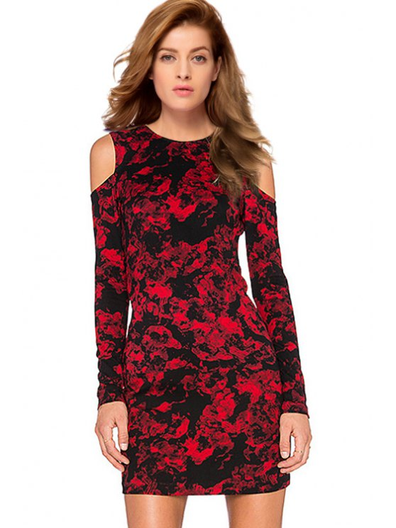 ladies Cut Out Printed Round Collar Long Sleeves Dress - RED S
