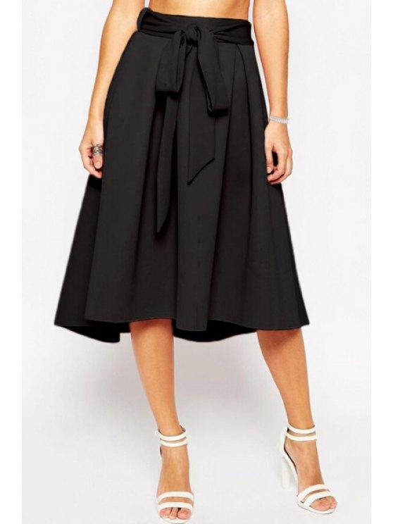 ladies Bowknot Embellished Midi Skirt - BLACK S