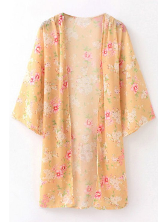 buy Self Tie Tiny Floral Print Kimono Cover-Up - LIGHT YELLOW S