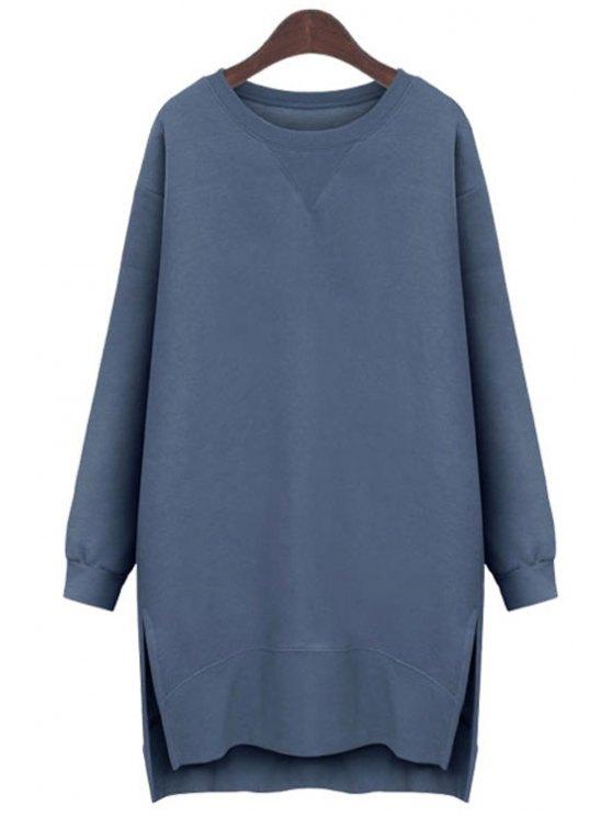 hot Long Sleeve Side Slit Sweatshirt Dress - BLUE M