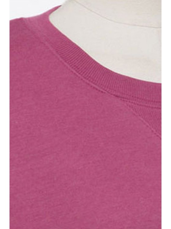 Long Sleeve Side Slit Sweatshirt Dress - RED M Mobile