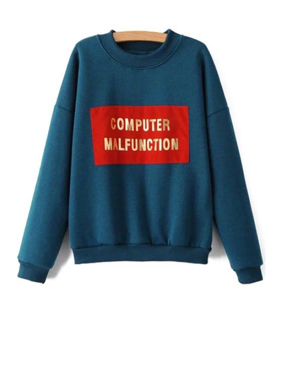 women Golden Letter Print Long Sleeves Sweatshirt - BLUE S