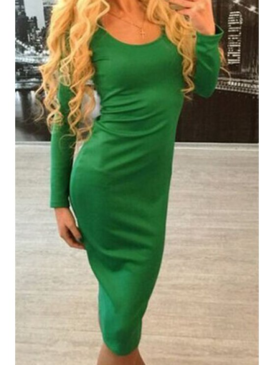 sale Low Back Lace-Up Bodycon Dress - GREEN S