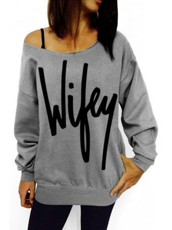 chic Slash Neck Letter Pattern Sweatshirt - GRAY S
