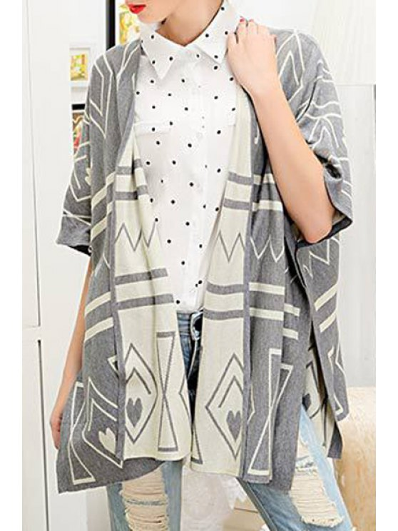 trendy Loose Fitting Geometric Pattern Cape Cardigan - GRAY ONE SIZE(FIT SIZE XS TO M)