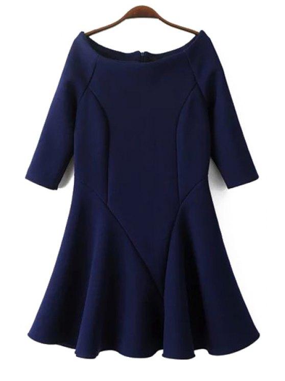 buy Flounce Slash Neck Half Sleeve Dress - PURPLISH BLUE S