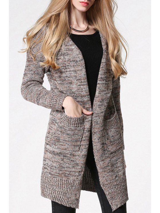 fashion Pockets Long Sleeves Long Cardigan - DUN ONE SIZE(FIT SIZE XS TO M)
