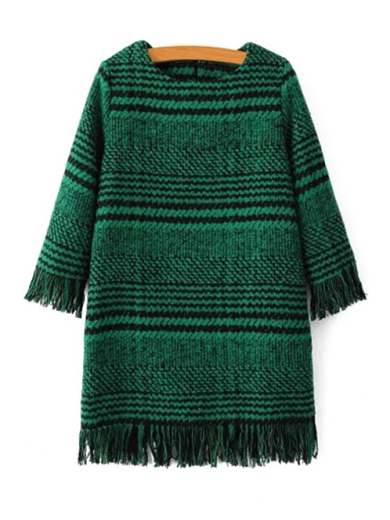 outfits Houndstooth Jewel Neck 3/4 Sleeve Dress - GREEN S