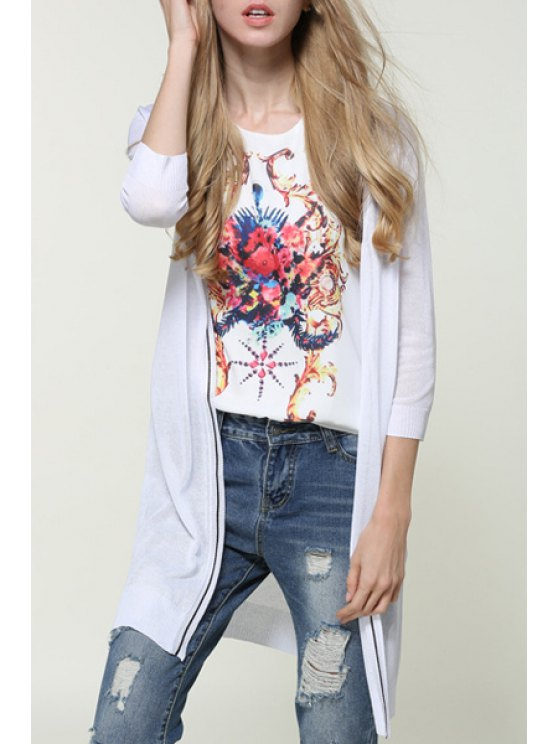 unique Printed Thin 3/4 Sleeves Cardigan - WHITE ONE SIZE(FIT SIZE XS TO M)