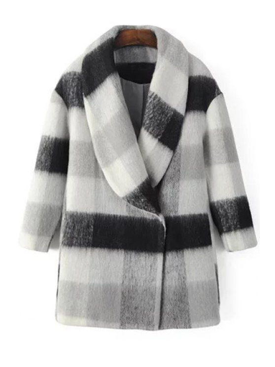 trendy Checked Turn Down Collar Long Sleeves Coat - WHITE AND BLACK S