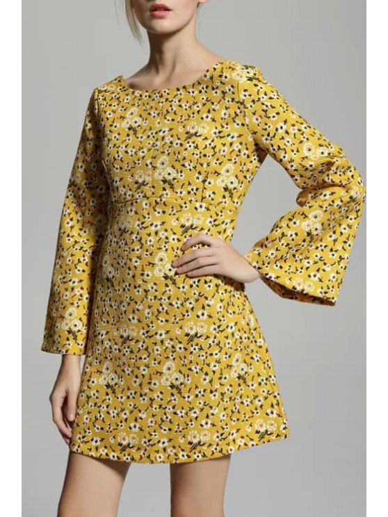 best Tiny Floral Scoop Neck Flare Sleeve Dress - YELLOW S