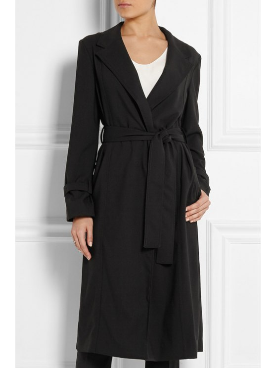 unique Lapel Long Sleeve Belted Black Coat - BLACK S