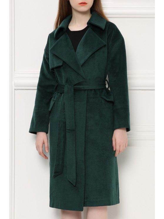 hot Lapel Loose Fit Green Coat - BLACKISH GREEN S