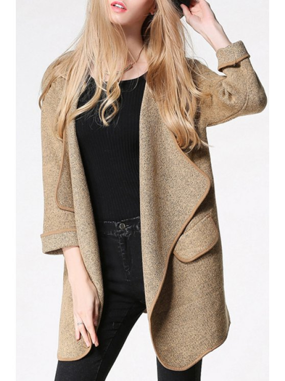 ladies Solid Color Turn-Down Collar Long Cardigan - YELLOW ONE SIZE(FIT SIZE XS TO M)