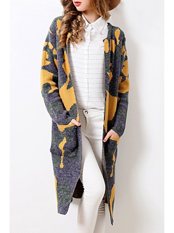 best Printed Pockets Long Sleeves Long Cardigan - GRAY ONE SIZE(FIT SIZE XS TO M)