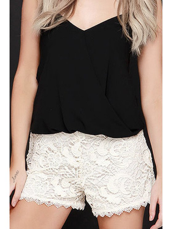outfit Crochet Flower White Lace Shorts - WHITE 2XL