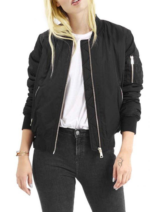 latest Stand Collar Pure Color Long Sleeve Jacket - BLACK S