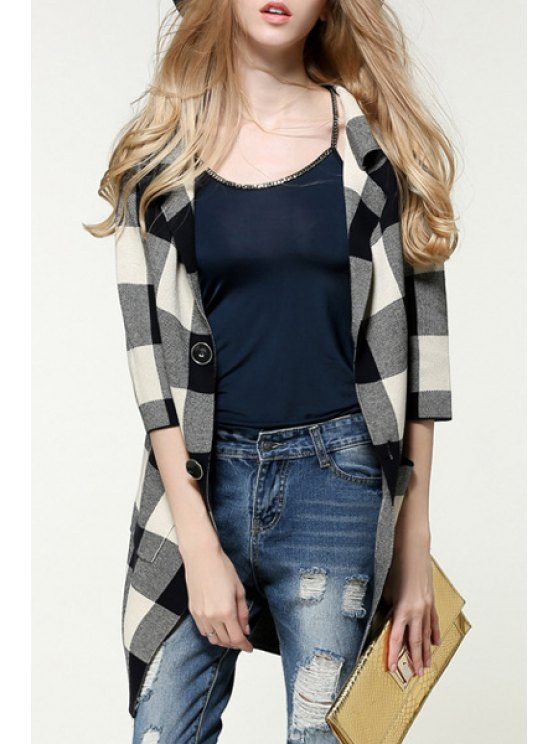 new Checked Pockets Turn-Down Collar Long Cardigan - GRAY ONE SIZE(FIT SIZE XS TO M)