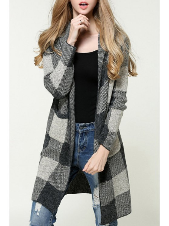 outfits Checked Hooded Long Sleeves Pockets Long Cardigan - GRAY ONE SIZE(FIT SIZE XS TO M)