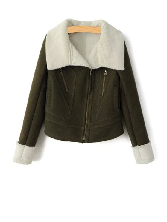 lady Army Green Turn Down Collar Long Sleeves Coat - ARMY GREEN S