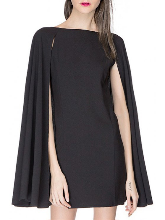 trendy Boat Neck Cape Design Black Dress - BLACK XL