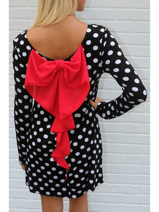 ladies Polka Dot Round Collar Long Sleeves T-Shirt - BLACK S