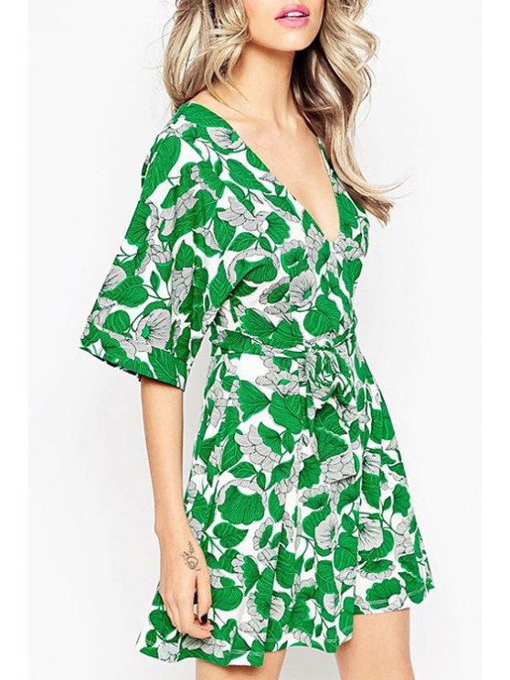 outfits Half Sleeve Leaf Print Self-Tie Belt Dress - GREEN XS