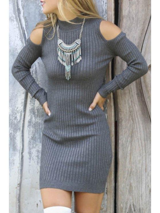 unique Solid Color Cut Out Turtle Neck Sweater Dress - GRAY S