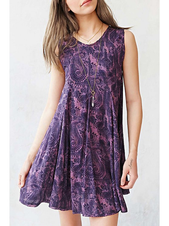 women's Hollow Back Paisley Print Flare Dress - PURPLE S