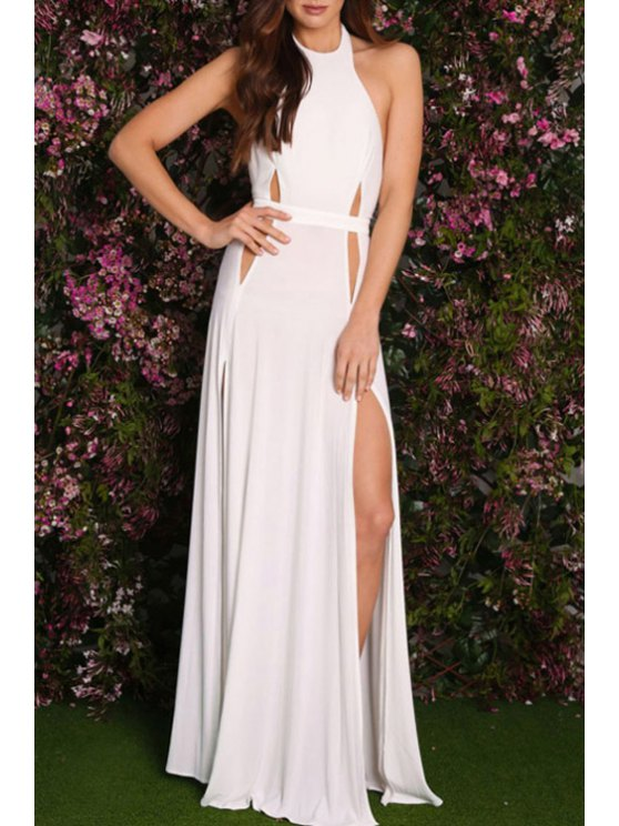lady Solid Color Cut Out High Slit Halter Maxi Dress - WHITE ONE SIZE(FIT SIZE XS TO M)