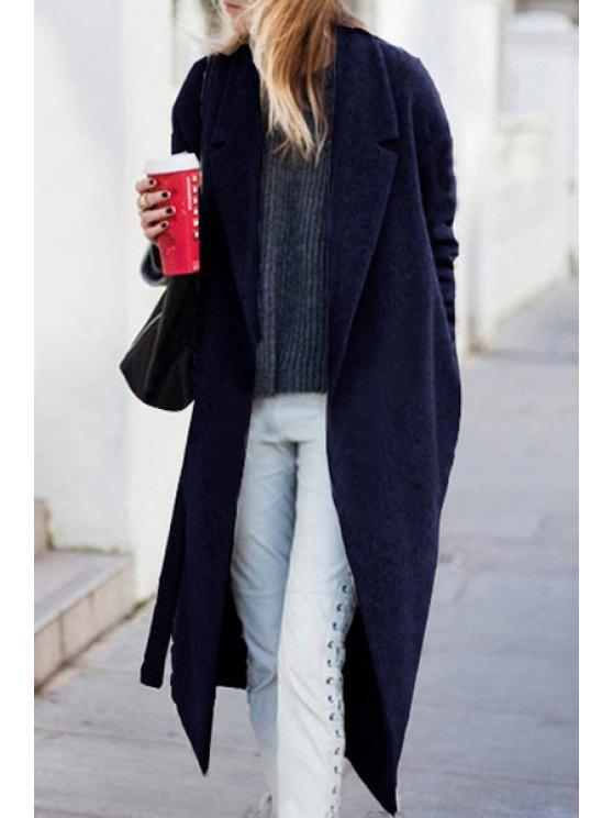 best Lapel Long Sleeve Back Slit Wool Coat - BLACK XL