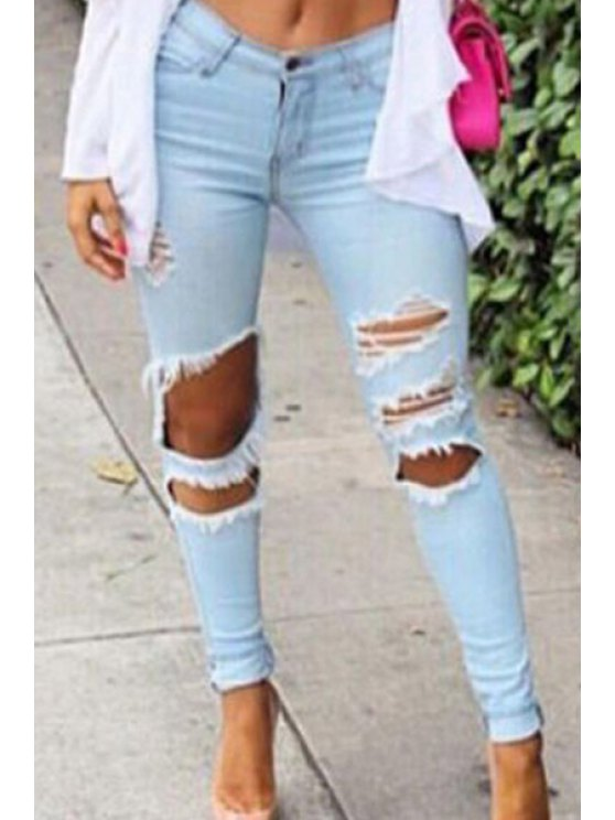 unique Solid Color Ripped High Waisted Bodycon Jeans - LIGHT BLUE M