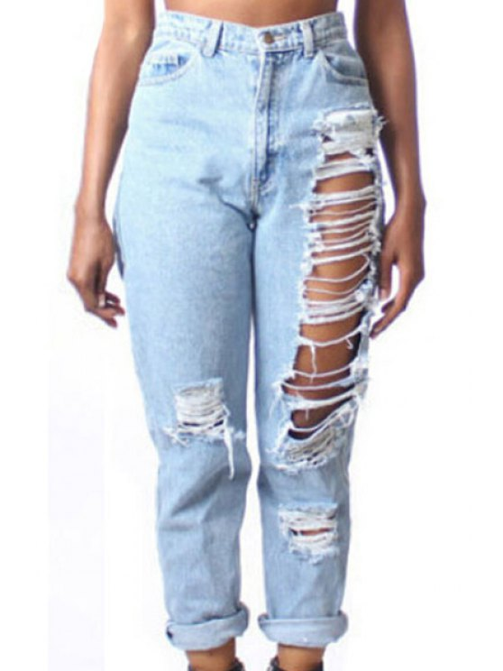 buy Ripped High Waisted Solid Color Jeans - LIGHT BLUE M