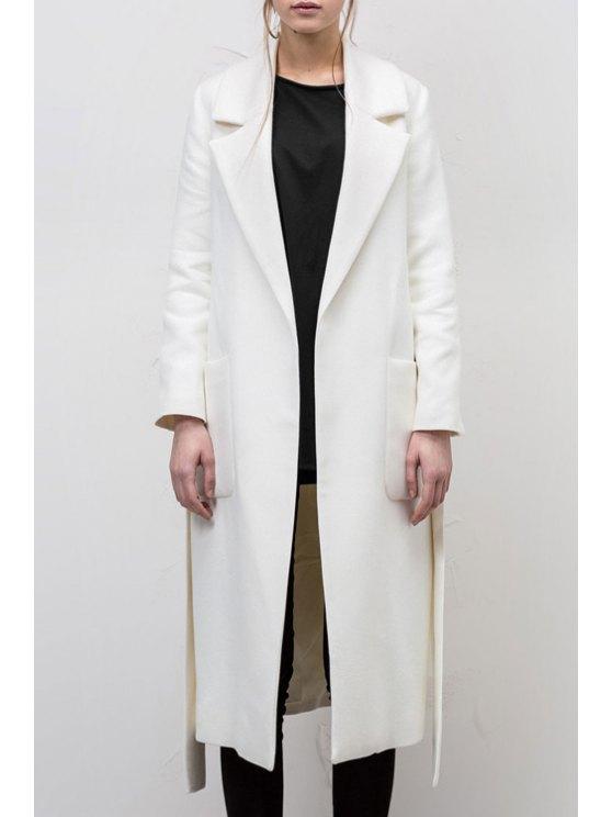 womens Lapel Pocket Design White Coat - WHITE S