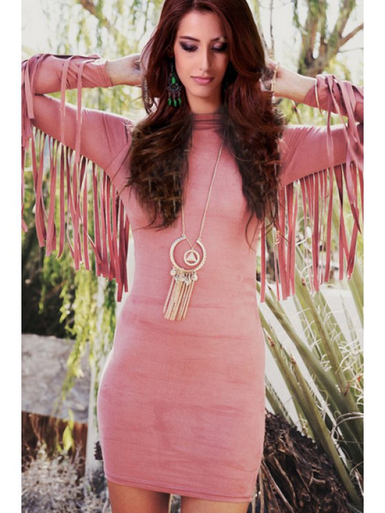 new Tassels Stand Neck Bodycon Dress - PINK S
